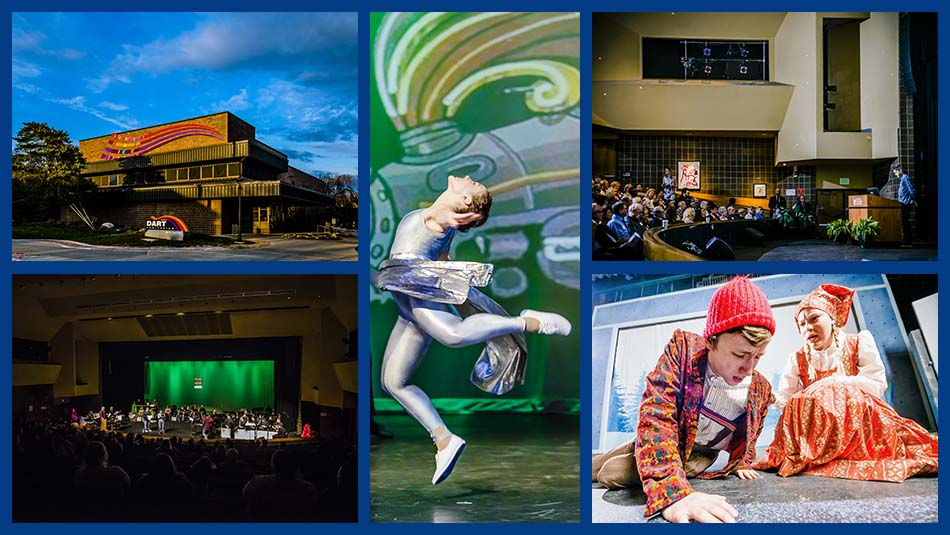 Dart Auditorium image collage featuring the buildings exterior, a dancer performing on stage, an orchestra performing on stage, a speaker addressing a crowd from behind a podium, and two actors carrying out a scene on stage