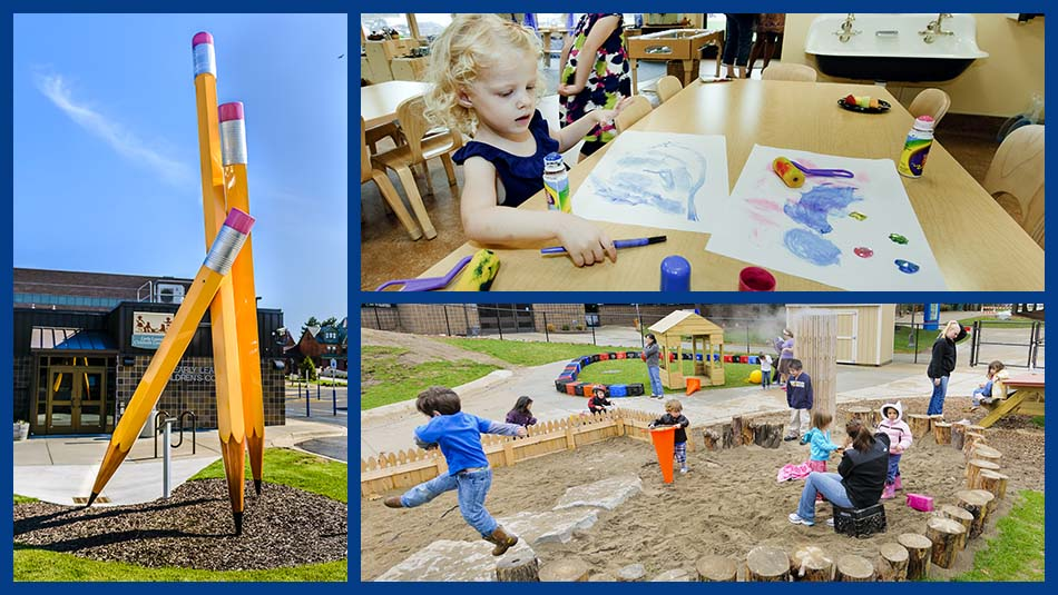 Early Learning Children's Community image collage featuring the building's exterior, a giant sculpture of three pencils leaning up against each other, a toddler coloring with crayons, and several toddlers playing on a playground