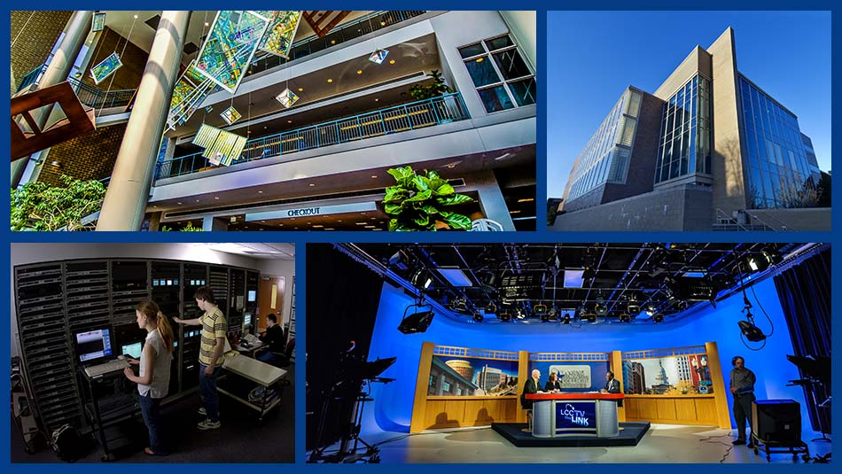 Technology and Learning Center image collage featuring the building's exterior, the LCC library, a giant rack of media servers as well as a tv broadcast studio