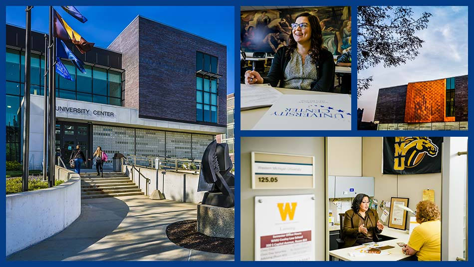 University Center image collage featuring the building's exterior, a woman smiling behind a desk, and an LCC employee helping a student transfer into a michigan university