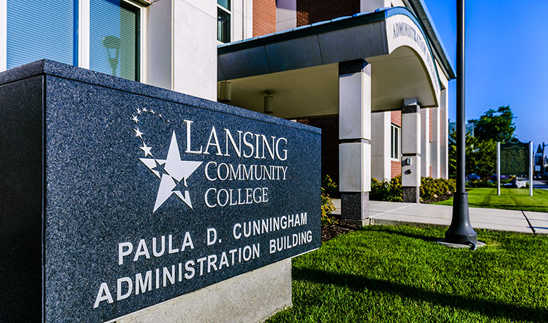 The sign and entrance of the Paula D. Cunningham Administration Building