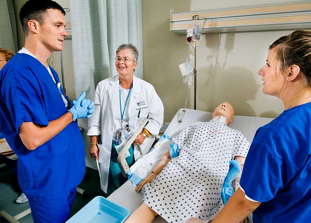 Students in the nursing sim lab