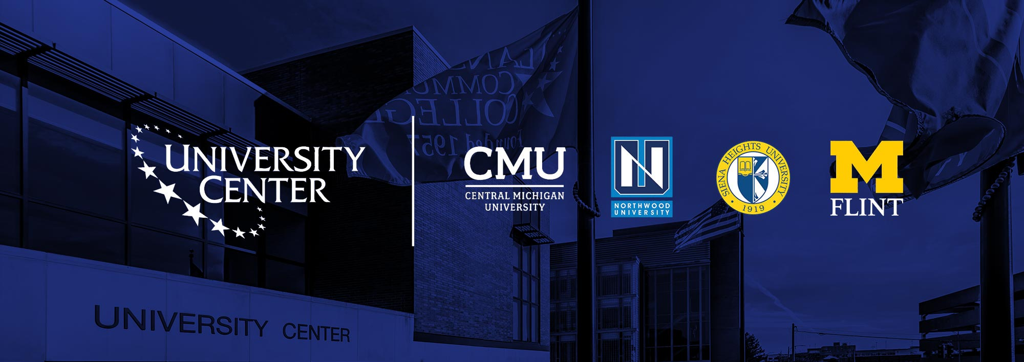 University Center graphic with CMU, Ferris State, Northwood, Siena Heights, and UofM-Flint