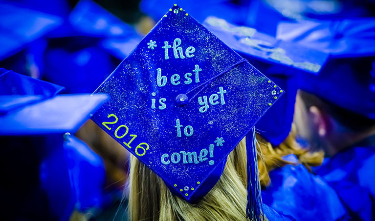 "A blue graduation cap reads, ""The best is yet to come! 2016"""