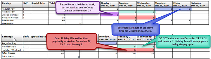 FY20 Holiday Time Reporting-Full-Time Physical Plant/FMA
