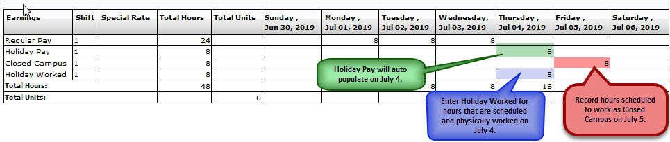 FY19 Holiday Time Reporting-Full-Time Physical Plant/FMA