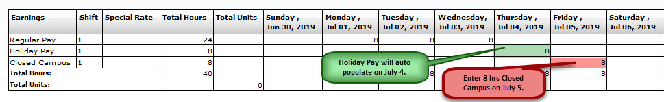 FY19 Holiday Time Reporting-Full-Time Support