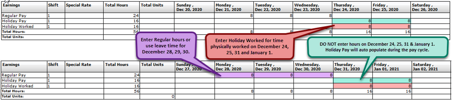 FY21 Holiday Time Reporting-Full-Time Physical Plant/FMA