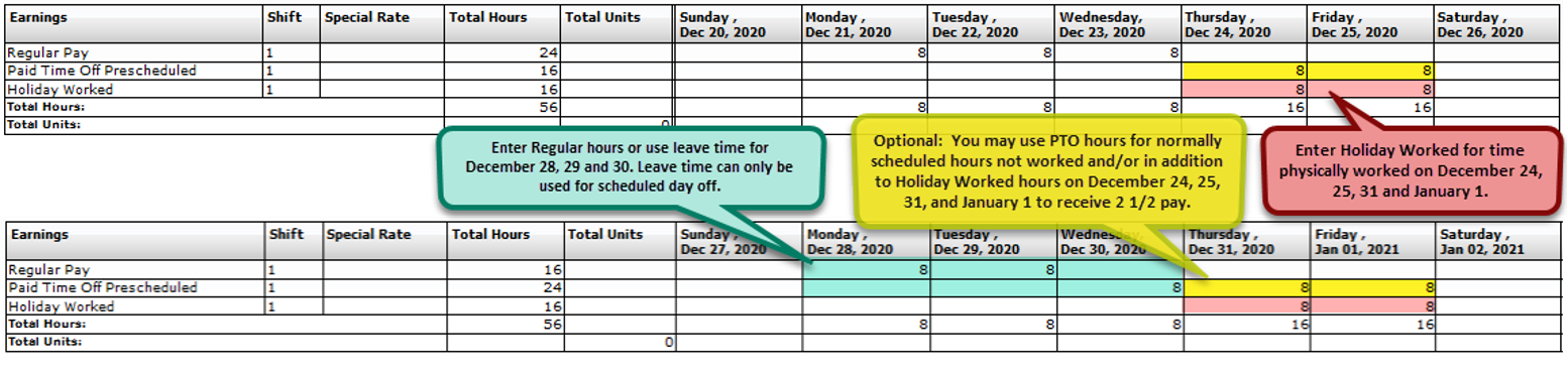 FY21 Holiday Time Reporting-Full-Time Police