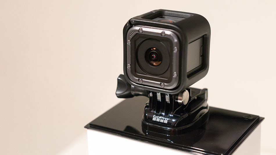 a gopro mounted on a stand