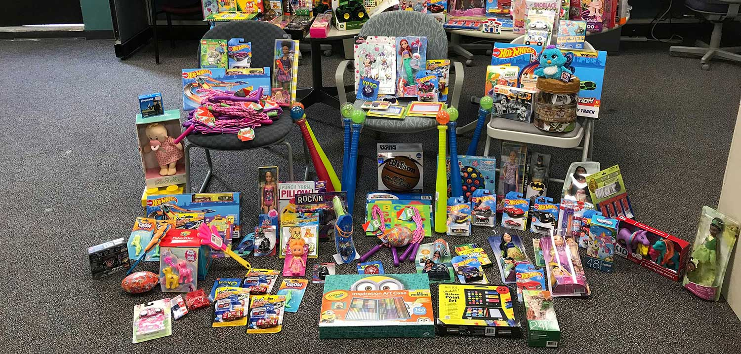 Toys stacked up for kids