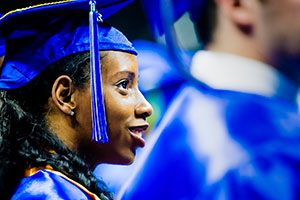 female student at graduation commencement