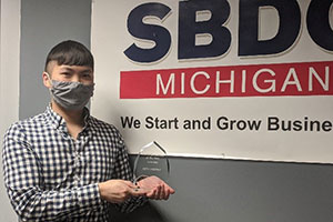 Seth Murphy, the intake consultant at the Small Business Development Center (SBDC), was honored