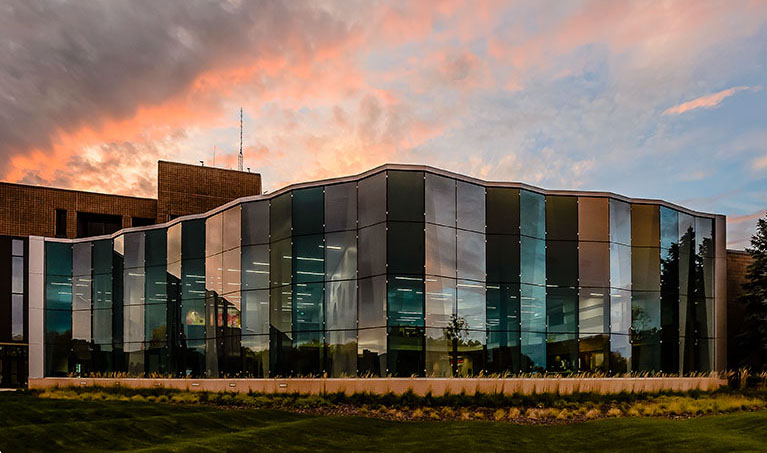 Gannon building glass at sunset