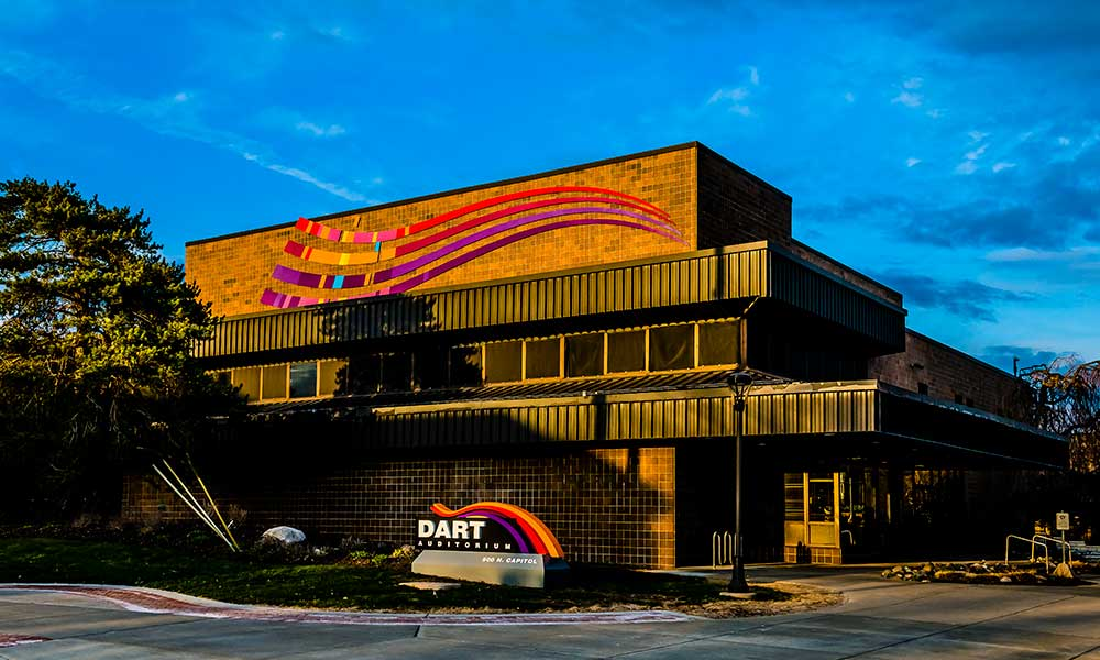 exterior shot of the dart auditorium